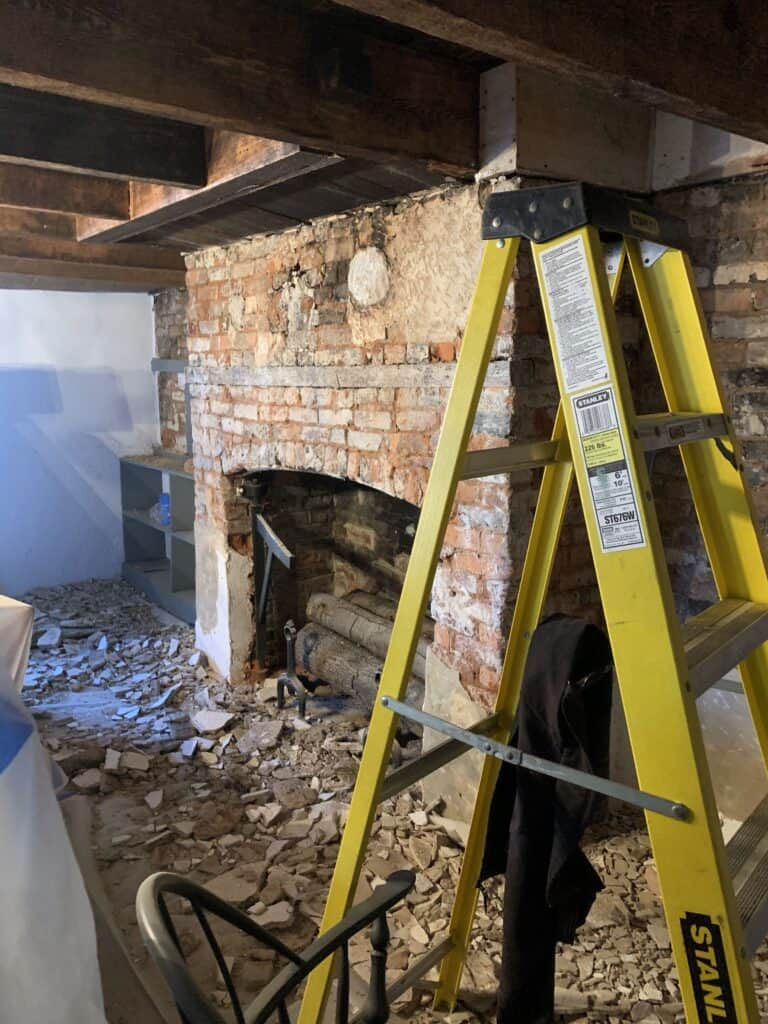 Meadow Garden Fireplace Plaster Removal