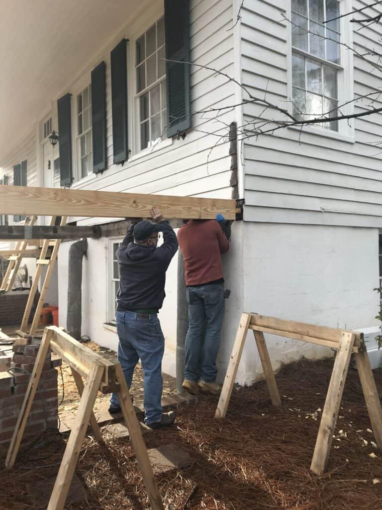 Meadow Garden Historic Porch Restoration Framing